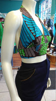 Flirty Ankara Midriff Halter in Green and Brown African Wax Cotton