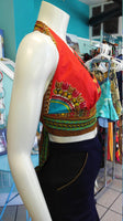 Flirty Red Ankara Midriff Halter in African Wax Block Java Dashiki Cotton