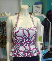Reversible Pin Up Halter with Fitted Bodice and Flirty Peplum in Purple and White Ankara