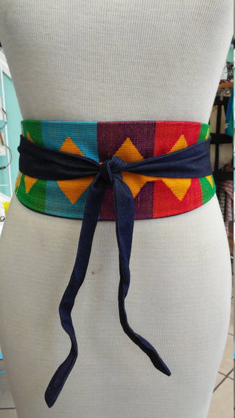 Reversible African Kente Cloth and Denim Obi Belt
