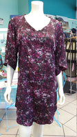 Silky Flutter Sleeve Tunic Dress with Shirttail Hem in Purple Splatter Fabric