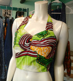 African Wax Block Ankara Halter Crop Top in Lime Green print