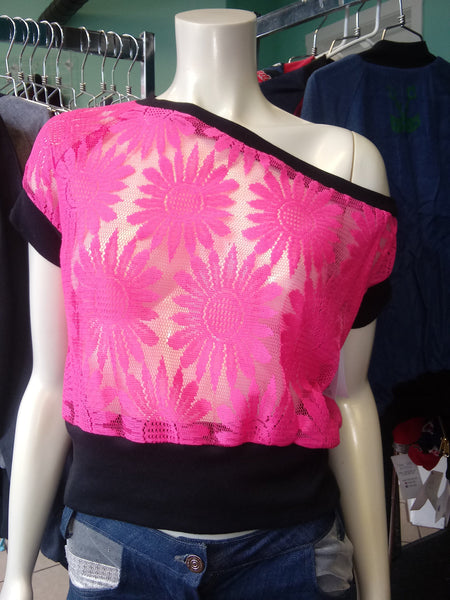 Off Shoulder Slouch Sweatshirt in Neon Pink Lace and Black Cuffs