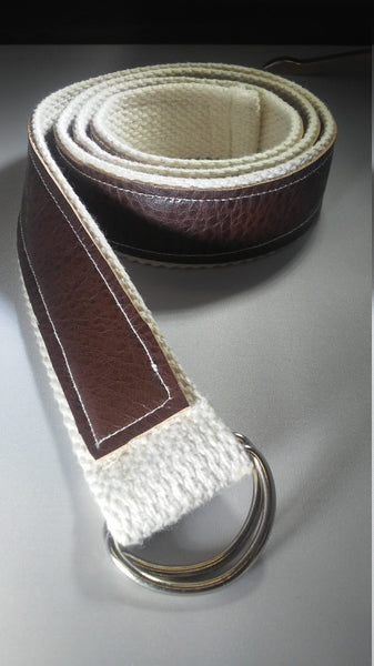 Vegan Leather and Natural Canvas Belt with Adjustable D Ring Closure