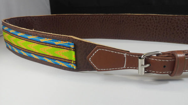 Vegan Leather and Ankara Belt with Adjustable Buckle Closure