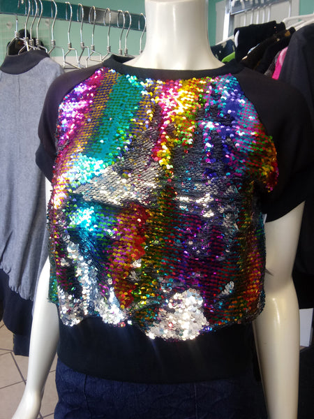 Rainbow Sequin Color Shift Pullover Top