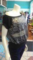 Off Shoulder Slouch Sweatshirt in Grey Floral Lace and Black Cuffs