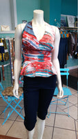 Flirty Halter Top with Peplum made from Lightweight Printed Cotton