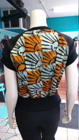 Unisex African Batik and Jersey Crew Neck Pullover in Ankara Cotton with Sun Motif