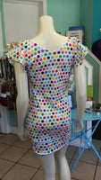 Sherbet Colored Polka Dot Knit Dress with Flutter Sleeves and Fitted Shape