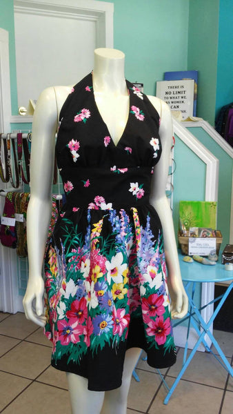Flirty Floral Halter Sundress in Vintage Paneled Cotton