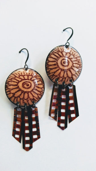 Enameled Henna Design Earrings w/ Film Negatives