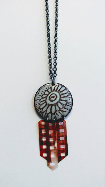 Enameled Henna Design Necklace w/ Recycled Film Negative