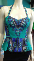 Reversible Pin Up Halter with Fitted Bodice and Flirty Peplum in Teal and Blue Dashiki Print