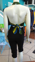 Flirty Ankara Midriff Halter in Yellow and Blue African Wax Cotton