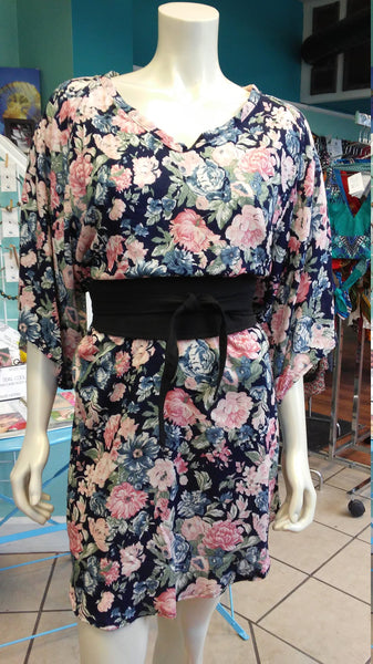 Silky Flutter Sleeve Tunic Dress with Shirttail Hem in Navy Floral