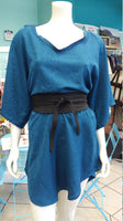 Silky Flutter Sleeve Tunic Dress with Shirttail Hem in Textured Teal Fabric