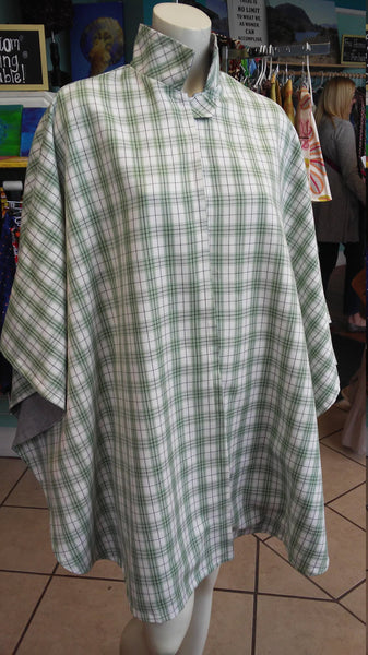 Green and Cream Plaid Print Cape