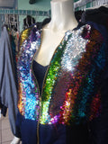 Rainbow Sequin Color Shift Bomber Jacket