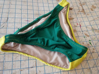 Mens European Swimwear Briefs in Black and Yellow