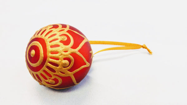 Small Hand Painted Satin Finish Christmas Bulb Ornament with Henna Design in Glass
