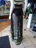Sheer Black Chiffon Wrap with Handstamped Leaf Pattern