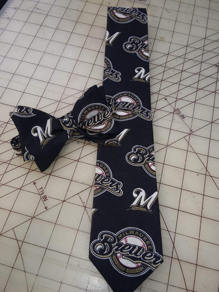 MLB Milwaukee Brewers Neckties in bow tie, skinny tie, and standard tie styles, kids or adult sizes