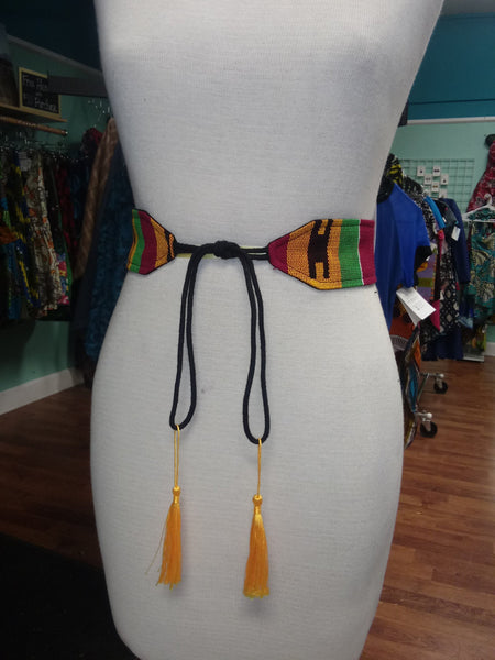 Reversible Tassel Belt in Handwoven African Kente Cloth
