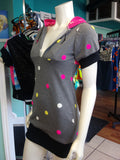 Athletic Hoodie Dress in Pink African Kente Cloth and Grey Polka Dot Sweatshirt Knit