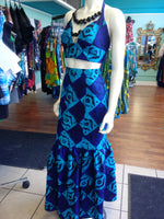 African Batik Mermaid Dress with Halter Midriff with Kukui Beads and 2 Layered Full Length Skirt