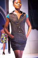 Sporty Denim and African Kente Cloth Jumper Dress with Button Down Front and Pockets