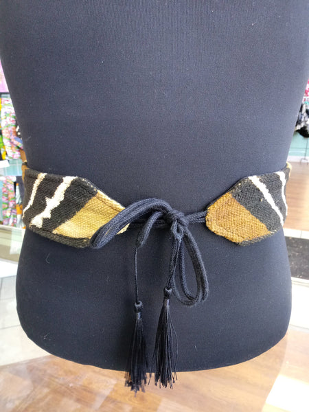 Reversible Mudcloth and Denim Tassel Belt