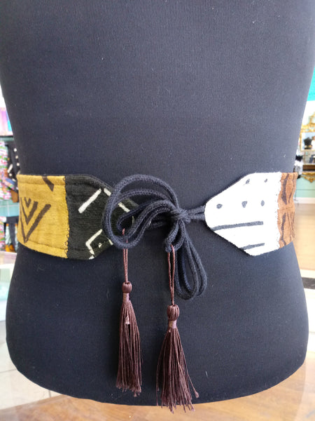 Reversible Mudcloth and Linen Tassel Belt