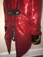 Circus Ringmaster Sequin Tail Coat in Red, Black and Gold