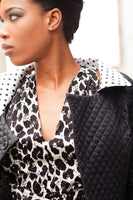 Midriff Sleeveless Wrap Blouse in Silky Animal Print