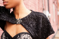Boucle Sequin Shrug in Black with Front Closure