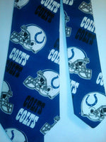 Indianapolis Colts NFL Neckties in bow tie, skinny tie, and standard tie styles, kids or adult sizes