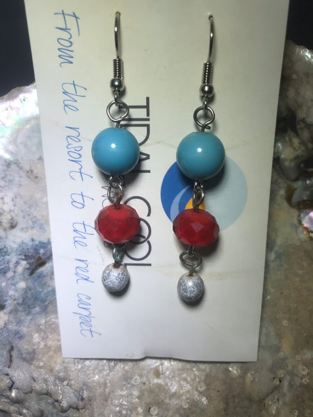 Red, White and Blue Drop Earrings with Stainless Steel Ear wires