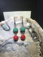 Green and Red Drop Earrings with Stainless Steel Ear wires