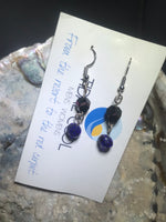 Black and Blue Drop Earrings with Stainless Steel Ear wires