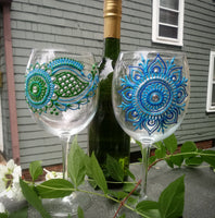 Hand Painted Wine Glasses in Green and Blue Henna Design