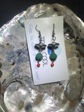 Red, Turquoise and Silver Drop Earrings with Stainless Steel Ear wires