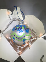 Hand Painted Ornament with Henna Design in Blue, Green and White Satin Bulb