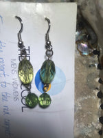 Green Crystal Earrings with Stainless Steel Ear wires
