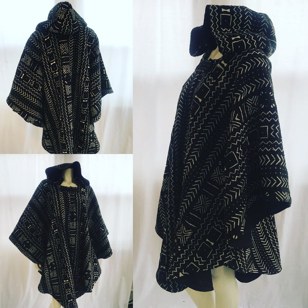 Long African Mudcloth Cape with Hood in Black and White