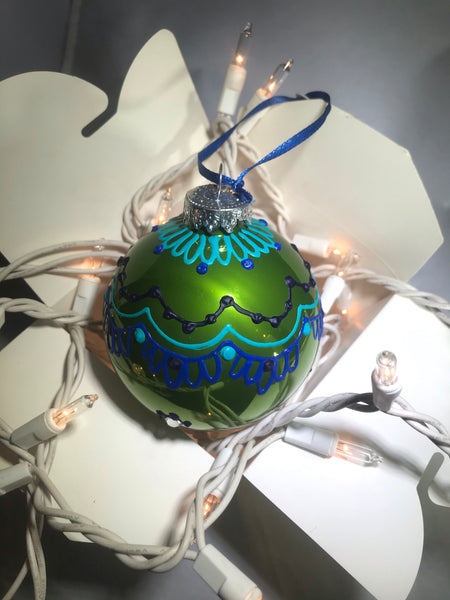 Hand Painted Ornament with Henna Art  on Green Glass Bulb and Blue Design