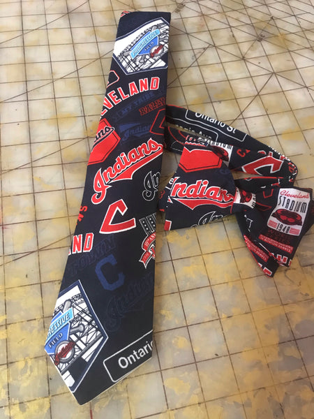 MLB Cleveland Indians Neckties in bow tie, skinny tie, and standard tie styles, kids or adult sizes