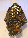 Long African Mudcloth Cape with Hood in Black, Brown and White