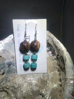Wood and Turquoise Drop Earrings with Stainless Steel Ear wires