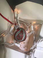 Small Hand Painted Red and Green Ornament with Henna Art on White Glass Bulb